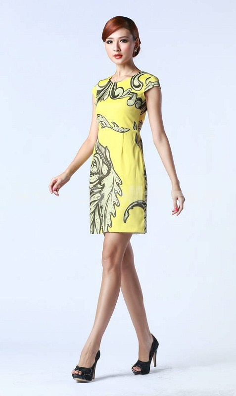 2013 New Arrival Vintage Printing Sleeveless Slim Dress Evening Dress