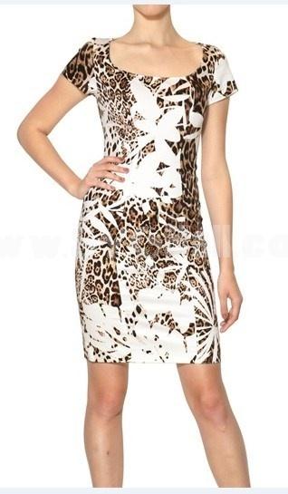 2013 New Arrival Round Neck Sleeveless Leopard Print Dress Evening Dress 6292