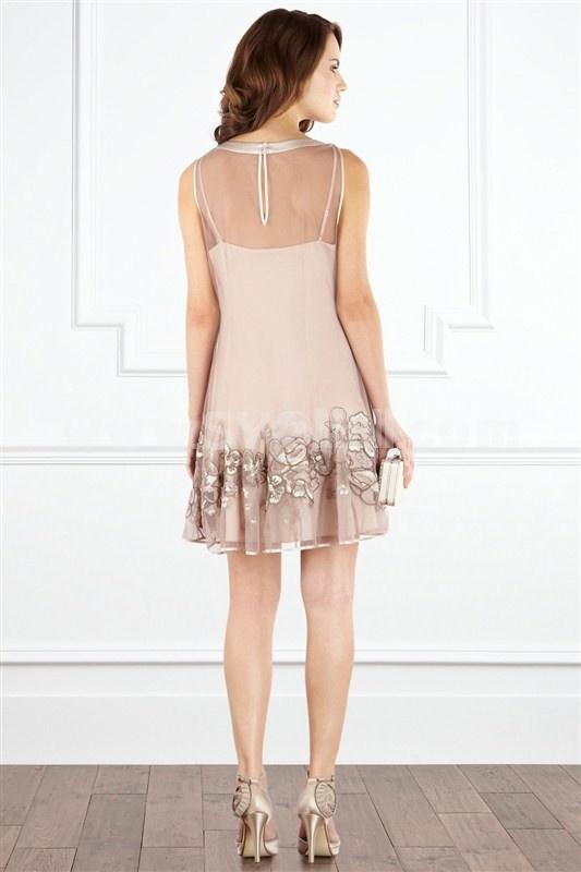 2013 New Arrival Fashion Sleeveless Round Neck Simple Design Dress Evening Dress