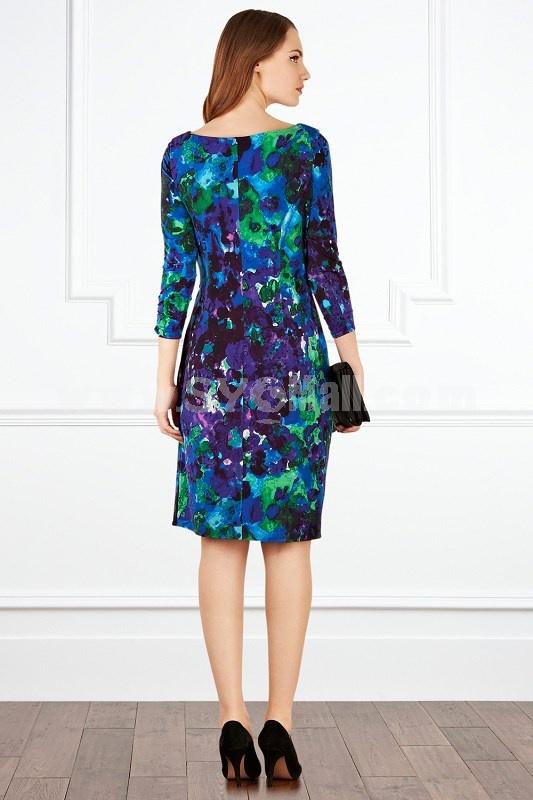 2013 New Arrival Seventh Sleeve Blue Printing Slim Dress Evening Dress CT8398