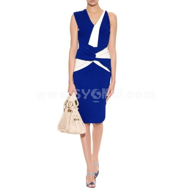 2013 Hot Sale Round Neck Sleeveless Color Contrast Slim Dress Evening Dress KC105