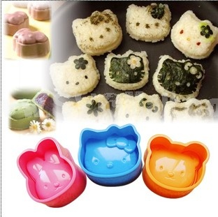 Lovely Rabbit Bear Cat Pattern Rice Mold Set 3Pcs Creative Kitchen Tool