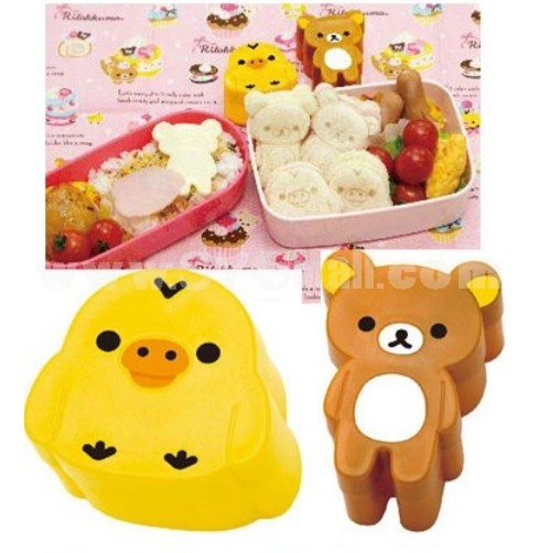 2Pcs Cute Bear & Chicken Pattern DIY Rice Mold Creative Kitchen Tool