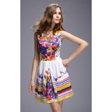 Wholesale - AS  Flower Painting Sleeveless Slim Dress Evening Dress ML10