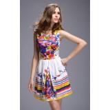 Wholesale - AS  Flower Painting Sleeveless Slim Dress Evening Dress ML10