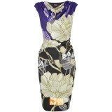 Wholesale - AS  Heaps Collar Flower Painting Slim Dress Evening Dress