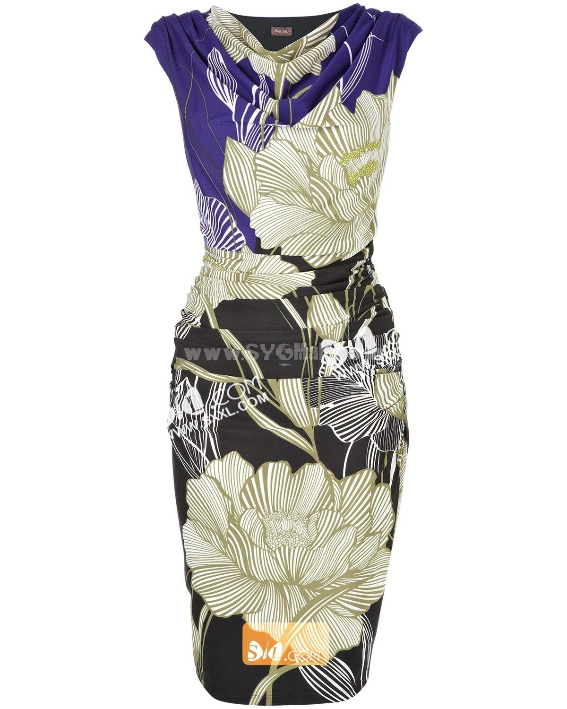 AS 2013 New Arrival Heaps Collar Flower Painting Slim Dress Evening Dress