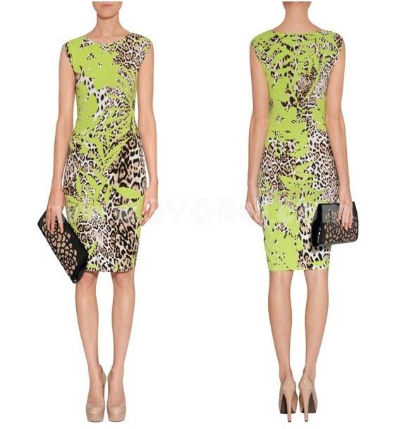 2013 New Arrival Short Sleeve Painting Pattern Slim Dress Evening Dress 6292
