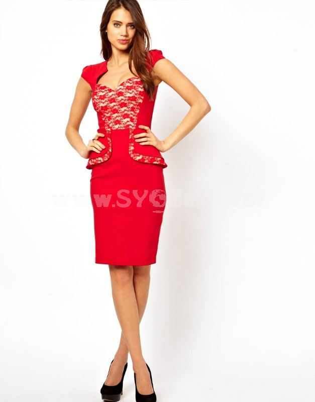 2013 New Arrival Red Lace Decoration Slim Dress Evening Dress KM315