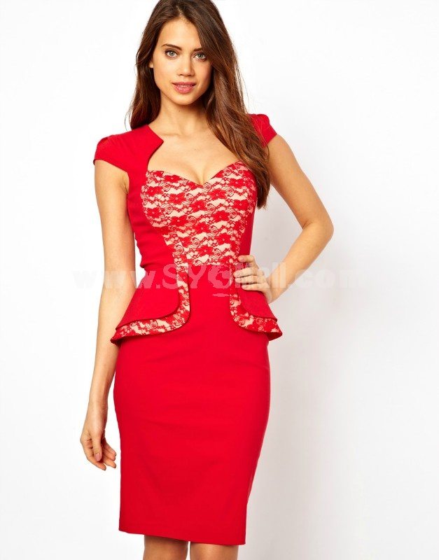 2013 New Arrival Red Lace Decoration Slim Dress Evening Dress KM315