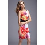 Wholesale - Simple Elegant Flower Painting Slim Dress Evening Dress DQ164