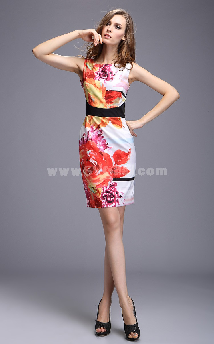 2013 New Arrival Simple Elegant Flower Painting Slim Dress Evening Dress DQ164