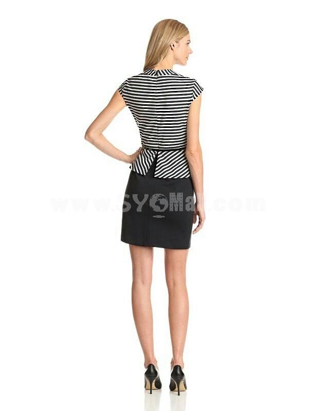 2013 New Arrival Stripe Pattern Falbala Slim Dress Evening Dress AK500