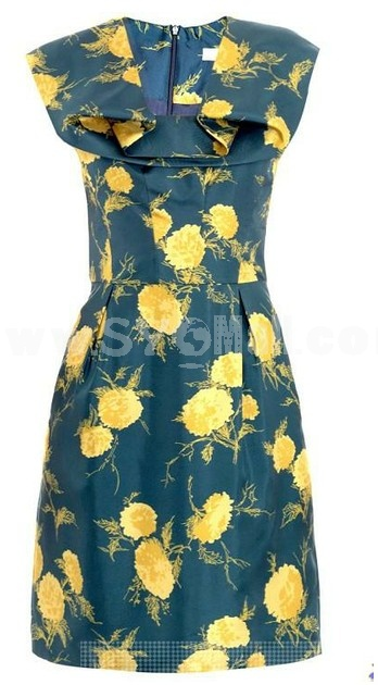 2013 New Arrival Fashion Flower Painting Slim Dress Evening Dress KM806