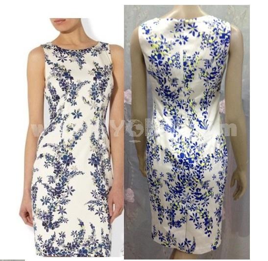 2013 New Arrival Elegant Painting Slim Dress Evening Dress 9208