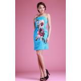 Wholesale - Suspenders Flower Painting Slim Dress Evening Dress 7291