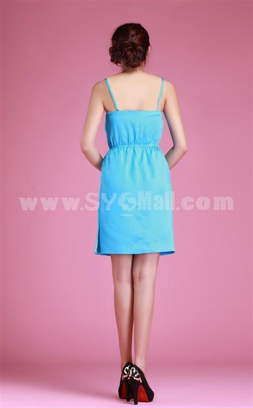 2013 New Arrival Suspenders Flower Painting Slim Dress Evening Dress 7291
