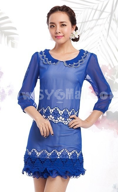 2013 New Arrival Vintage Style Short Sleeve Lace Slim Dress Evening Dress KC084