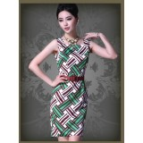 Wholesale - Square-cut Collar Sleeveless Slim Dress Evening Dress