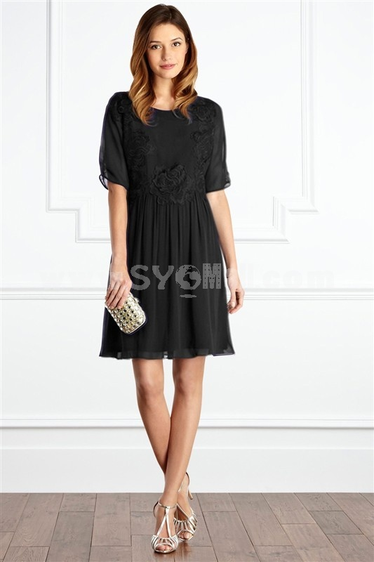 2013 New Arrival Short Sleeve Flower Decorative Slim Dress Evening Dress KC056