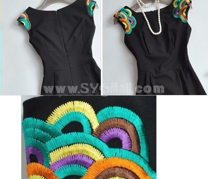 2013 New Arrival Elegant Embroidery Slim Dress Evening Dress 2056
