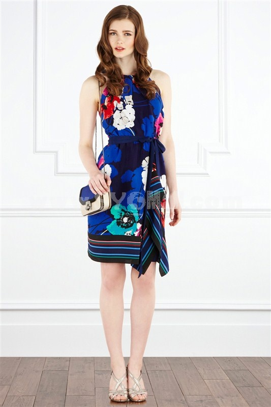2013 New Arrival Round Neck Painting Slim Dress Evening Dress  7898