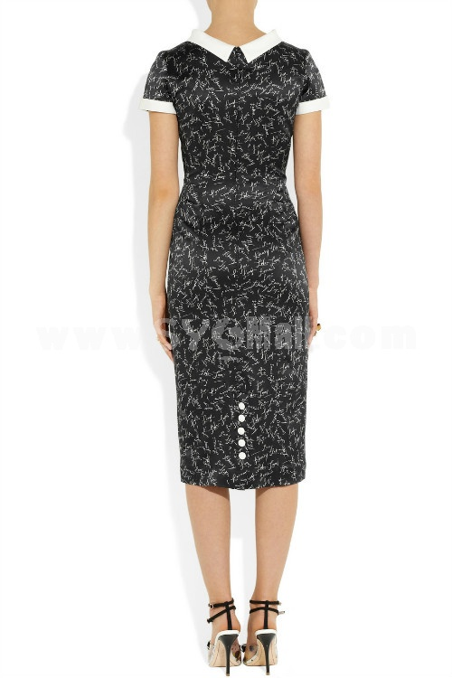 2013 New ArrivalElegant Printing Lady Slim Dress Evening Dress