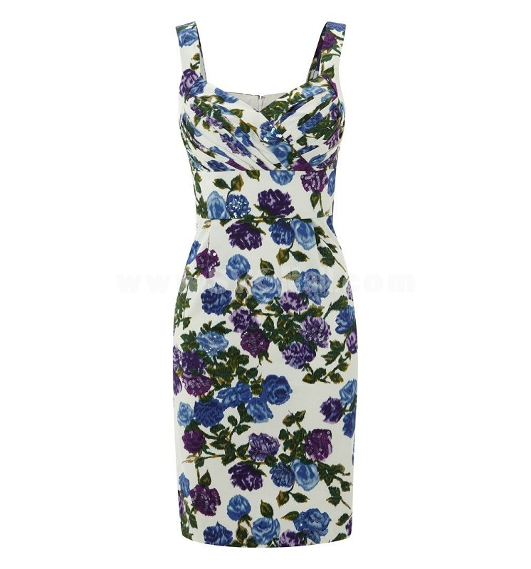 2013 New Arrival V-neck Blue Flower Painting Slim Dress Evening Dress KL034