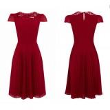 Wholesale - Collar Hollowed-out Short Sleeve Slim Dress Evening Dress DP049