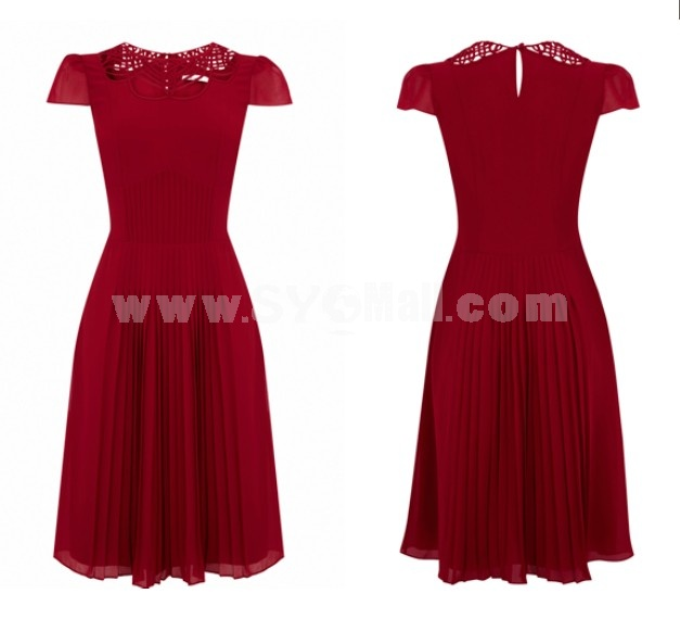 2013 New Arrival Collar Hollowed-out Short Sleeve Slim Dress Evening Dress DP049