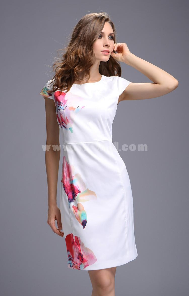 2013 New Arrival Round Neck Painting Pattern Slim Dress Evening Dress 3698
