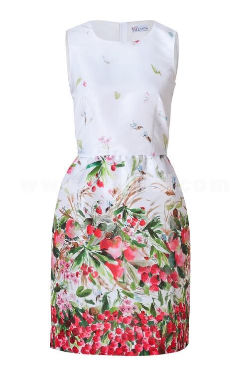 2013 New Arrival Sweety Painting Sleeveless Slim Dress Evening Dress