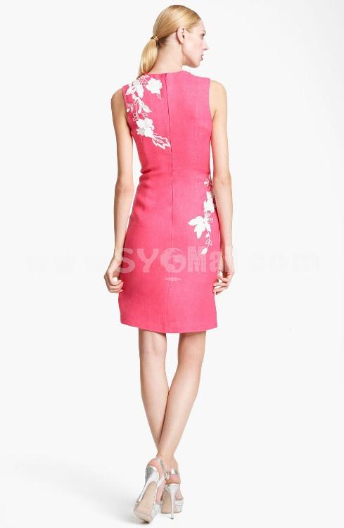 AK 2013 New Arrival Elegant Embroidery Round Neck Sleeveless Slim Dress Evening Dress AK2104