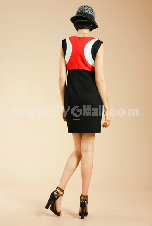 2013 New Arrival Simple Elegant Color Joint Slim Dress Evening Dress AK2050