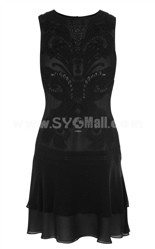 2013 New Arrival Round Neck Embroidery Slim Dress Evening Dress