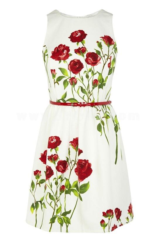 2013 New Arrival Sleeveless Painting Slim Dress Evening Dress 4600