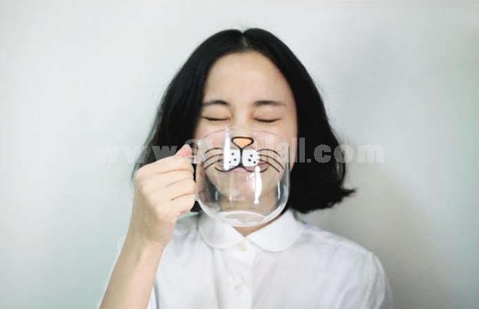 Creative Cat Face Glass Mug