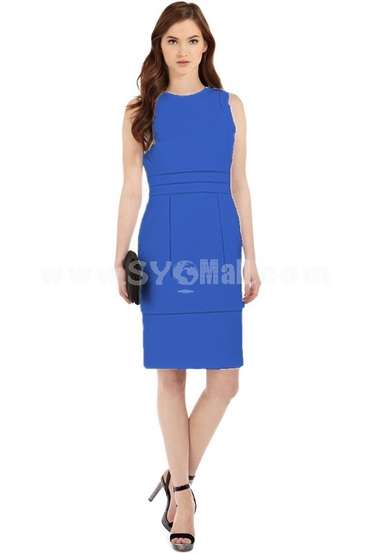 2013 New Arrival Round Neck Sleeveless Solid Color Slim Dress Evening Dress KC076