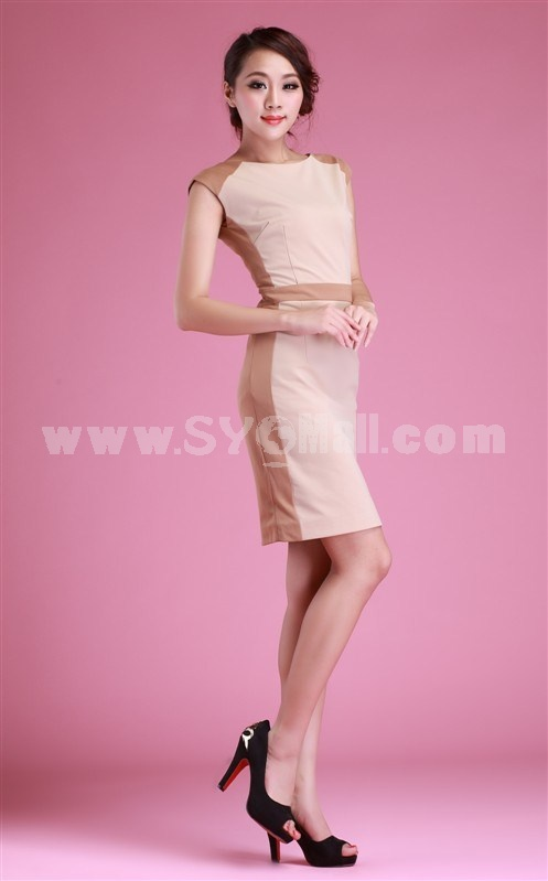 2013 New Arrival Elegant Lace Color Joint Round Neck Slim Dress Evening Dress