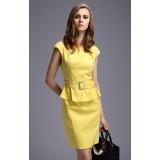 Wholesale - Round Neck Falbala Solid Color Slim Dress Evening Dress DQ083