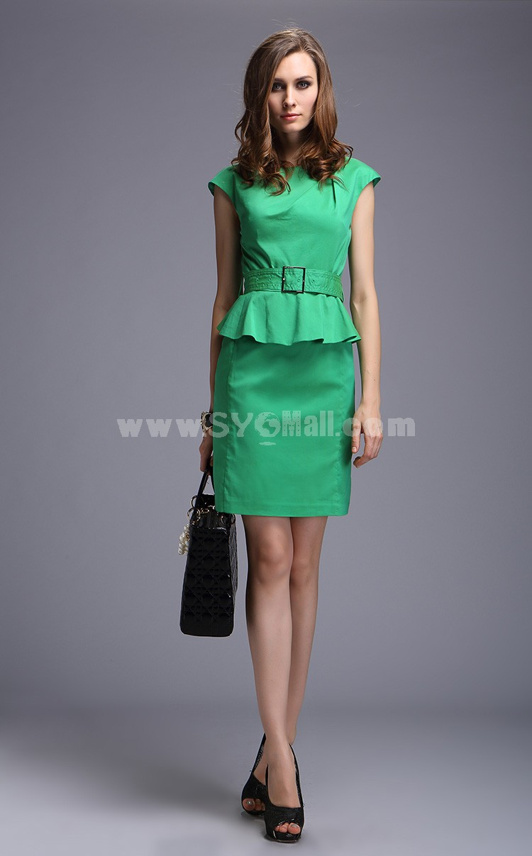 2013 New Arrival Round Neck Falbala Solid Color Slim Dress Evening Dress DQ083