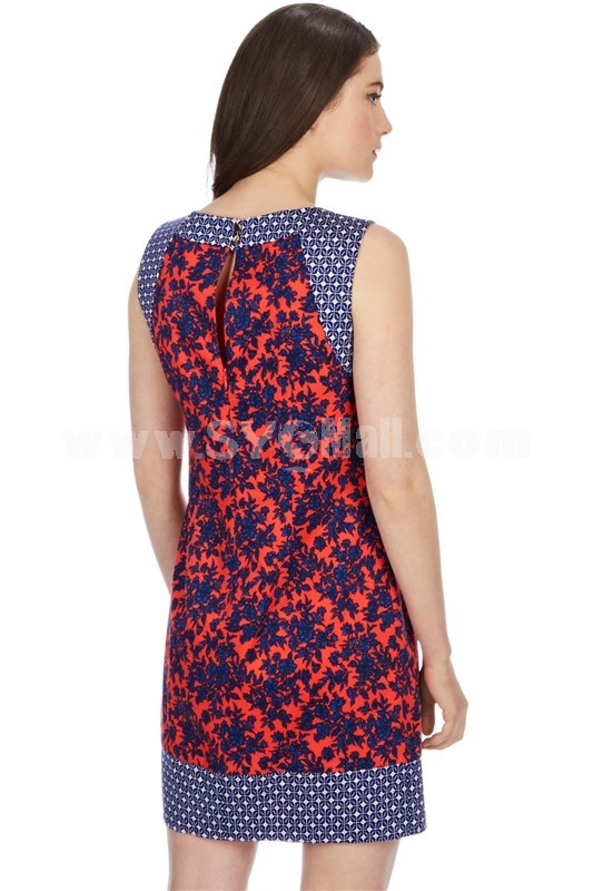 2013 New Arrival Vintage London Style Round Neck Flower Painting Joint Slim Dress Evening Dress 5500
