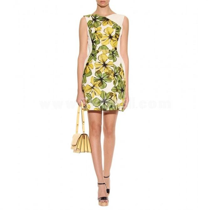 2013 New Arrival Vintage London Style Round Neck Sleeveless Fresh Flower Painting Slim Dress Evening Dress KC098