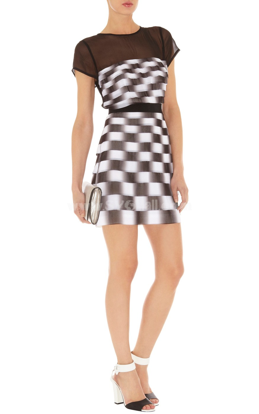 2013 New Arrival Black and White Checks Short Sleeve Slim Dress Evening Dress DQ095