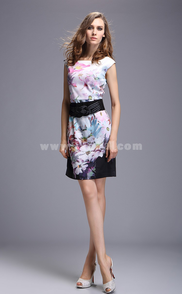 2013 New Arrival Round Neck Elegant Painting Slim Dress Evening Dress 8508