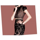 Wholesale - Sexy Lace Embroidery Grenadine Hollowed-out Slim Dress Evenning Dress