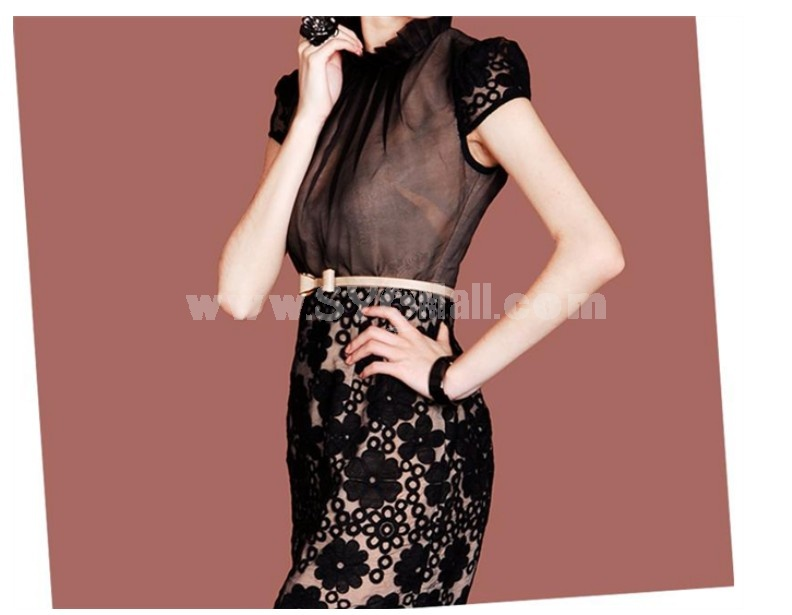 2013 New Arrival Sexy Lace Embroidery Grenadine Hollowed-out Slim Dress Evenning Dress