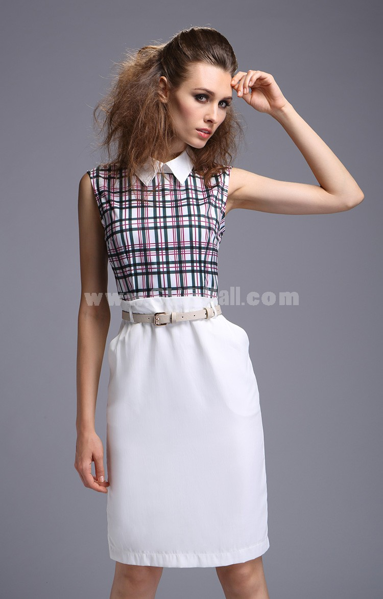 2013 New Arrival Elegant Joint Style Polo Collar Slim Dress Evenning Dress