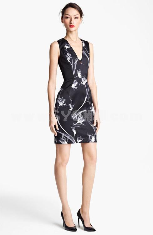 2013 New Arrival Sexy V-neck Flower Painting Sleeveless Sundress Slim Dress Evenning Dress