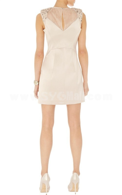 2013 New Arrival Round Neck Sleeveless Solid Color Small Hollowed-out Slim Dress Evenning Dress DQ190